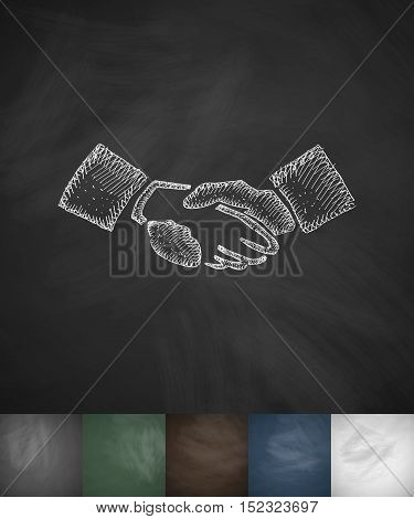 handship icon. Hand drawn vector illustration. Chalkboard Design