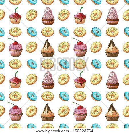 Seamless pattern. Sweets different colors and shapes on a white background isolation. Pattern with sweets. Confection hand drawn markers.