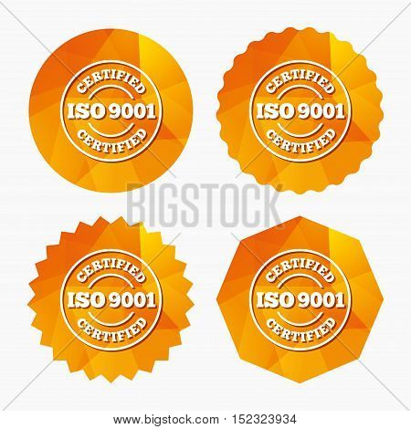 ISO 9001 certified sign icon. Certification stamp. Triangular low poly buttons with flat icon. Vector