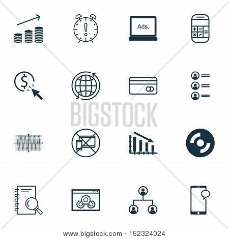 Set Of 16 Universal Editable Icons For Airport, Statistics And Marketing Topics. Includes Icons Such