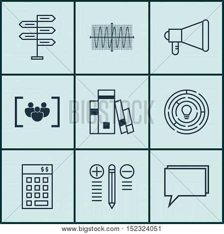 Set Of 9 Universal Editable Icons For Project Management, Marketing And Statistics Topics. Includes