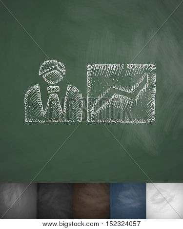 growth prospect icon. Hand drawn vector illustration. Chalkboard Design