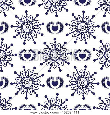 Vintage seamless violet monochrome pattern vector with flowers and hearts
