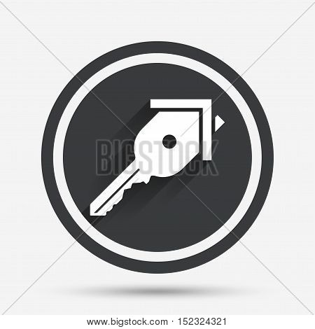 Key from the house sign icon. Unlock tool symbol. Circle flat button with shadow and border. Vector