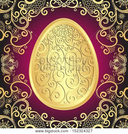 Easter greeting card with golden lacy big egg vector