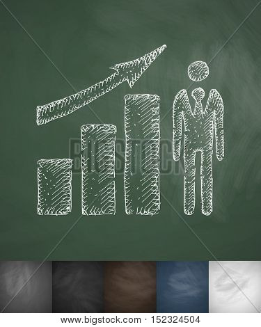 growth chart icon. Hand drawn vector illustration. Chalkboard Design