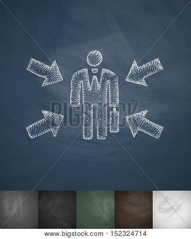 office worker icon. Hand drawn vector illustration. Chalkboard Design