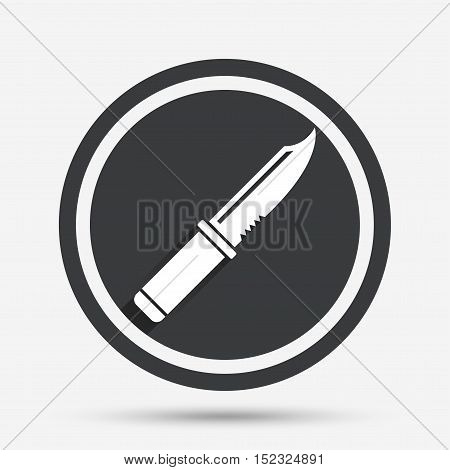 Knife sign icon. Edged weapons symbol. Stab or cut. Hunting equipment. Circle flat button with shadow and border. Vector