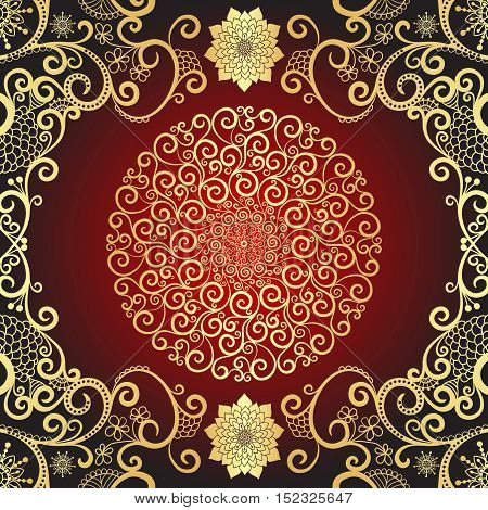 Vintage gold and dark red frame with gold decorative round lacy pattern vector