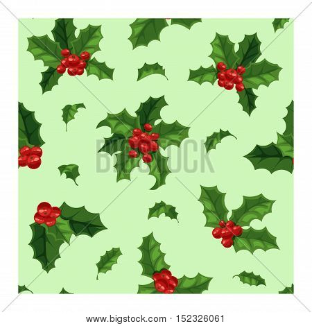 Merry Christmas seamless pattern with berry. Traditional hand drawn christmas berry seamless pattern decoration greeting card. Holiday christmas berry decoration seamless pattern floral design