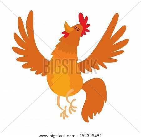 Cute cartoon rooster illustration. Cartoon rooster isolated on background. New Year 2017 symbol rooster, cock farm bird. cock farm animal. Cute rooster vector illustration. Rooster farm animal vector