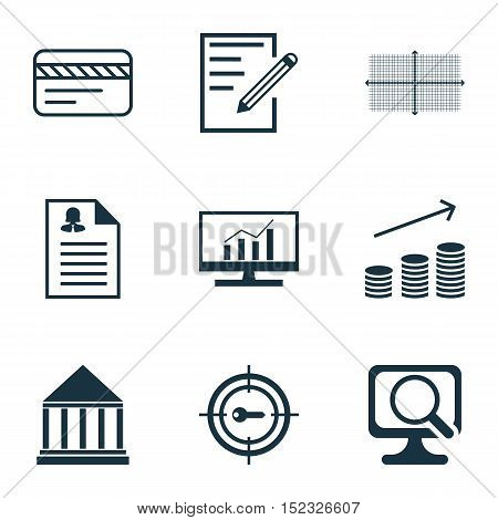 Set Of 9 Universal Editable Icons For Human Resources, Statistics And Education Topics. Includes Ico