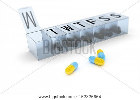3d rendering of a reminder box for pills
