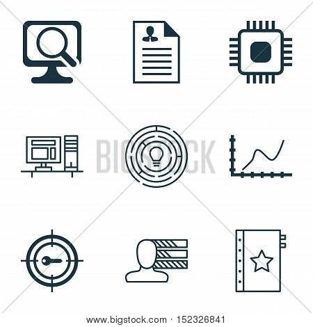 Set Of 9 Universal Editable Icons For Human Resources, Statistics And Project Management Topics. Inc