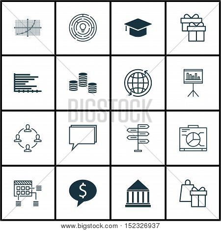 Set Of 16 Universal Editable Icons For Project Management, Education And Human Resources Topics. Inc