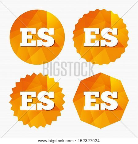 Spanish language sign icon. ES translation symbol. Triangular low poly buttons with flat icon. Vector