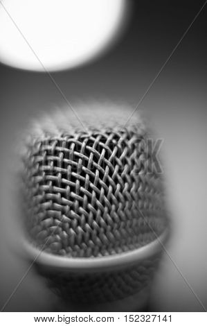 Microphone Macro Close Up Detail Black And White Atmosphere