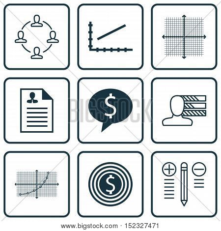 Set Of 9 Universal Editable Icons For Statistics, Human Resources And Project Management Topics. Inc