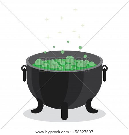 cauldron of boiling green liquid. Witch s magic. Magic potion for Halloween.