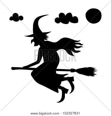 halloween creepy scary witch vector symbol icon design. Vector black silhouette.