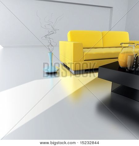 yellow sofa is in an empty light room