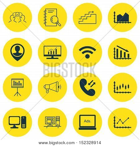 Set Of 16 Universal Editable Icons For Seo, Marketing And Project Management Topics. Includes Icons