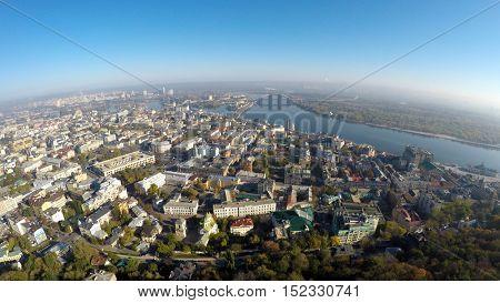 aerial view of the autumn Kiev, Podol