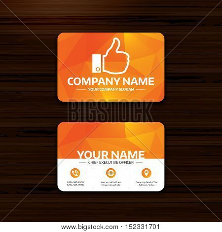 Business or visiting card template. Like sign icon. Thumb up sign. Hand finger up symbol. Phone, globe and pointer icons. Vector