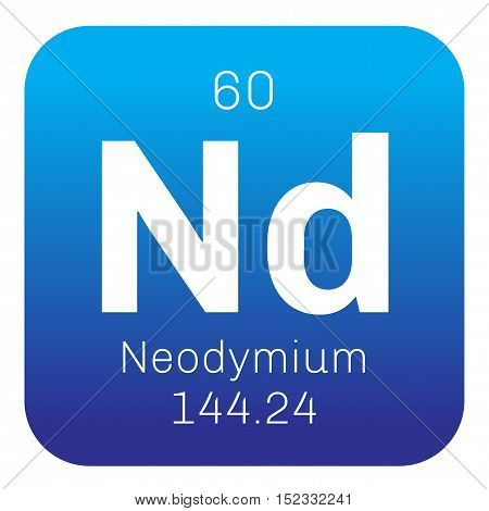 Neodymium chemical element. Colored icon with atomic number and atomic weight. Chemical element of periodic table.