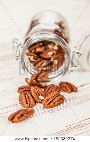 Pecan nuts closeup photo