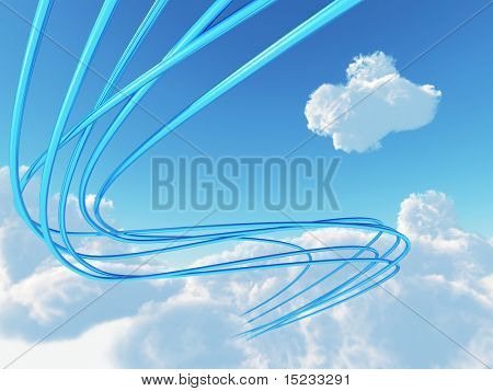 blue metallic cables connected to cloud an environment of bright sky