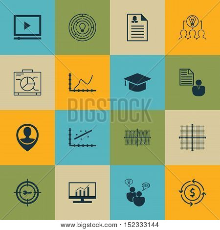 Set Of 16 Universal Editable Icons For Travel, Statistics And Education Topics. Includes Icons Such