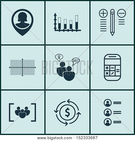 Set Of 9 Universal Editable Icons For Project Management, Airport And Statistics Topics. Includes Ic