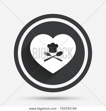 Chef hat sign icon. Love Cooking symbol. Cooks hat with fork and spoon. Circle flat button with shadow and border. Vector