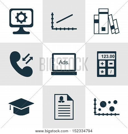 Set Of 9 Universal Editable Icons For Statistics, Education And Seo Topics. Includes Icons Such As C