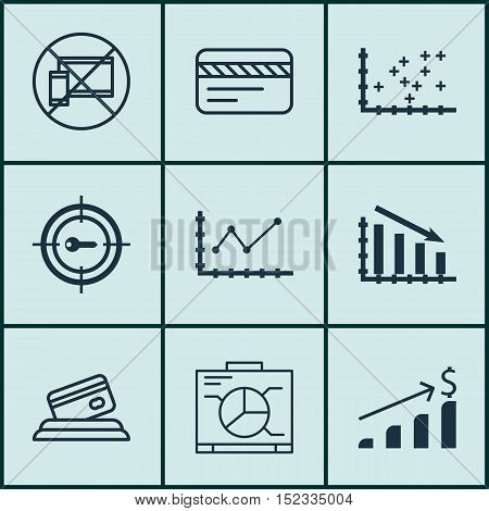 Set Of 9 Universal Editable Icons For Project Management, Airport And Advertising Topics. Includes I
