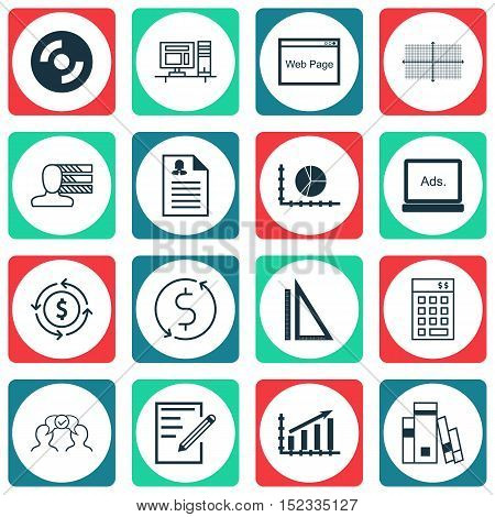 Set Of 16 Universal Editable Icons For Travel, Computer Hardware And Business Management Topics. Inc