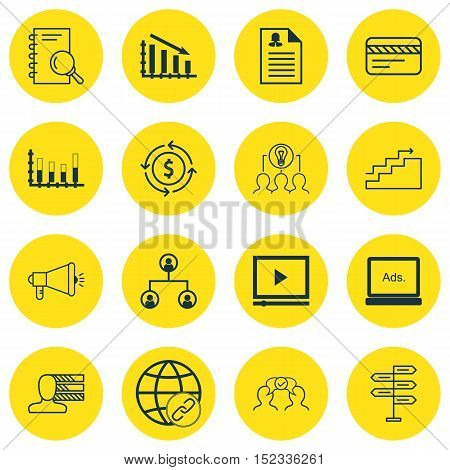 Set Of 16 Universal Editable Icons For Travel, Advertising And Marketing Topics. Includes Icons Such
