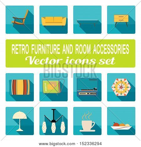 Retro furniture and room accessories with shadows vector icons set.
