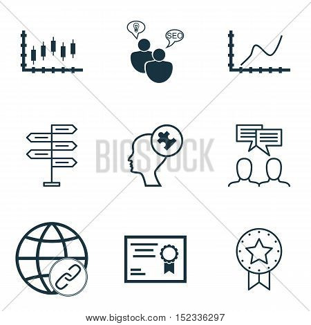 Set Of 9 Universal Editable Icons For Statistics, Seo And Education Topics. Includes Icons Such As A