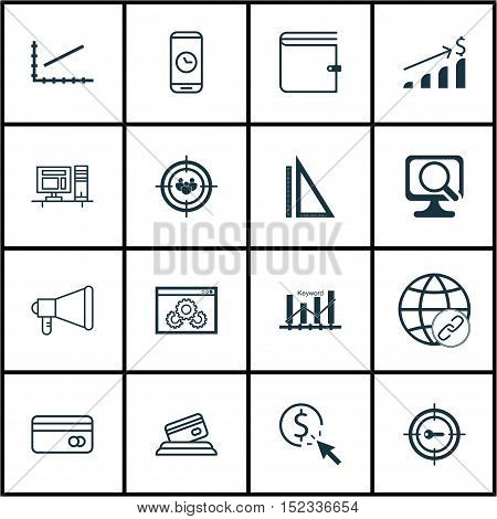 Set Of 16 Universal Editable Icons For Marketing, Seo And Human Resources Topics. Includes Icons Suc