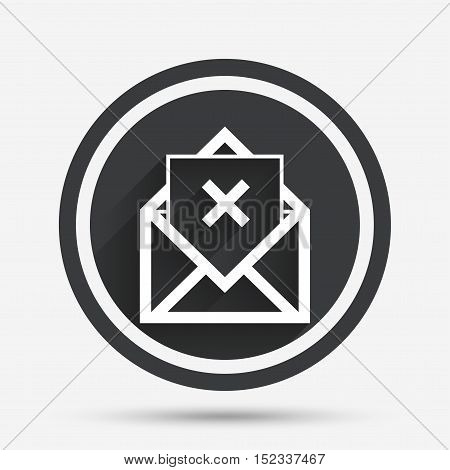 Mail delete icon. Envelope symbol. Message sign. Mail navigation button. Circle flat button with shadow and border. Vector