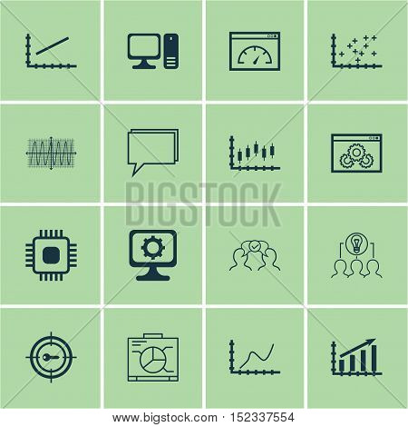Set Of 16 Universal Editable Icons For Business Management, Computer Hardware And Project Management