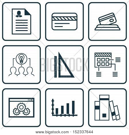 Set Of 9 Universal Editable Icons For Human Resources, Travel And Education Topics. Includes Icons S
