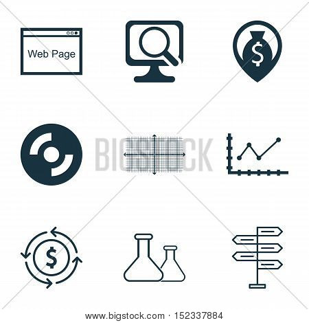 Set Of 9 Universal Editable Icons For Computer Hardware, Human Resources And Statistics Topics. Incl