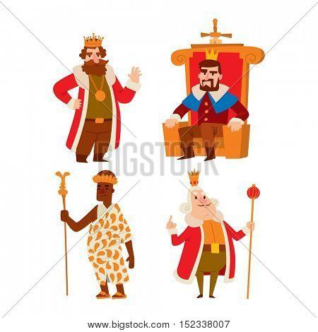Kings cartoon vector set.