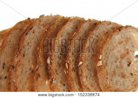 long french fresh rye baguette slices isolated on white background