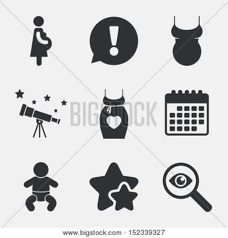 Maternity icons. Baby infant, pregnancy and shirt signs. Dress with heart symbol. Attention, investigate and stars icons. Telescope and calendar signs. Vector