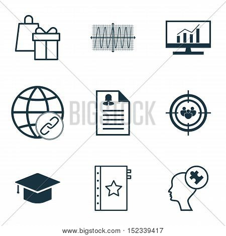 Set Of 9 Universal Editable Icons For Seo, Business Management And Airport Topics. Includes Icons Su