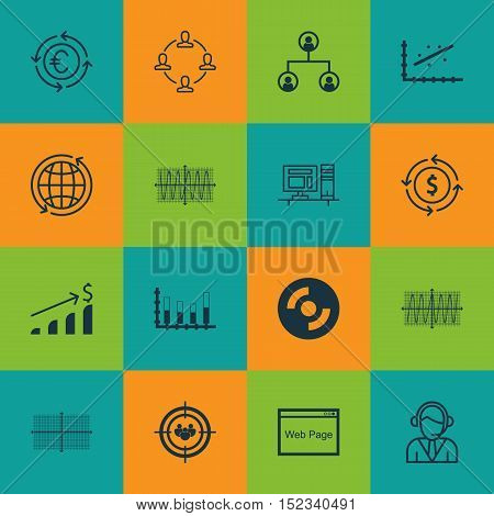 Set Of 16 Universal Editable Icons For Travel, Seo And Human Resources Topics. Includes Icons Such A